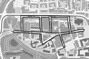 Maskenpflicht in der Rostocker Innenstadt (Quelle: Kataster-, Vermessungs- und Liegenschaftsamt)