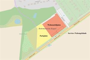 75 Plätze für Wohnmobile und 225 Pkw-Stellplätze soll es künftig am westlichen Ortseingang von Warnemünde geben (Kartendaten von OpenStreetMap – veröffentlicht unter ODbL)