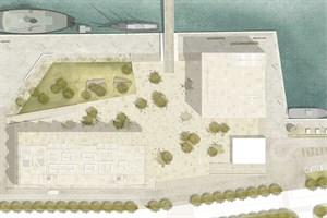 Entwurf der neuen Mehrzweckhalle im Stadthafen Rostock (links unten, Quelle: Holzer Kobler Architekturen)