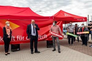 Ministerpräsidentin Manuela Schwesig und Wirtschaftsminister Harry Glawe stellten Hilfen für MV Werften in Aussicht