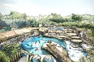 So soll die neue Robbenanlage im Zoo Rostock künftig ausschauen - Vogelperspektive (Grafik: Zooquariumdesign (ZQD) GmbH Hamburg)