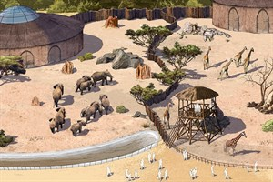 Afrikaneum für Elefanten, Giraffen und Okapis (Ausschnitt, Grafik: Zoo Rostock/Ina Wilken)