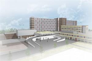 Ansicht der neuen Notaufnahme und Zentralküche (Visualisierung: MHB Architekten + Ingenieure GmbH Rostock)